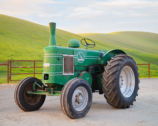 TRA 01 RK0424 01 © Kimball Stock 1950 Field-Marshall Series 3 Tractor Green 3/4 Front View By Hills