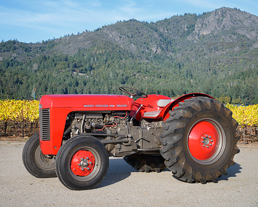 TRA 01 RK0433 01 © Kimball Stock 1955 Massey-Ferguson TO-35 Deluxe Tractor Red 3/4 Front View