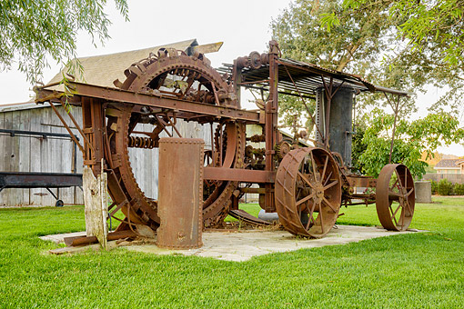 TRA 01 RK0441 01 © Kimball Stock 1906 Buckeye Trencher 3/4 Front View On Farm