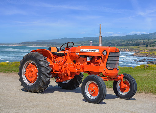 TRA 01 RK0474 01 © Kimball Stock 1960 Allis-Chalmers D14 Tractor Orange 3/4 Front View By Coast