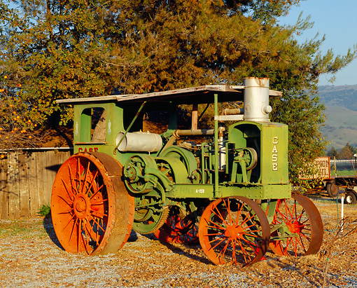 TRA 01 RK0020 03 © Kimball Stock 1916 Case 20140 Tractor 3/4 Front View By Trees