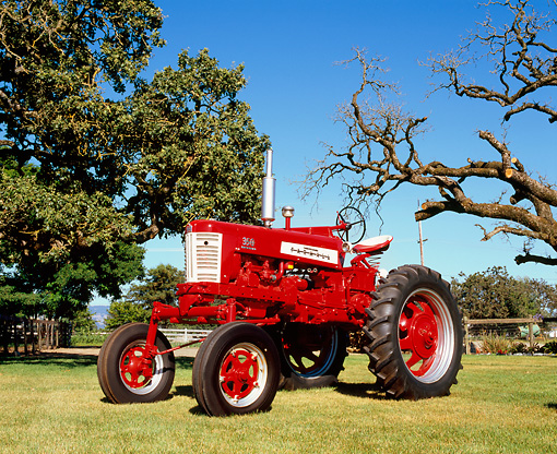 TRA 01 RK0121 01 © Kimball Stock 1958 Farmall 350 High Clearance Red And White 3/4 Front View On Grass By Trees