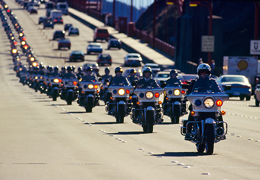 TRF 01 RK0009 01 © Kimball Stock CHP Motorcycles On California Freeway