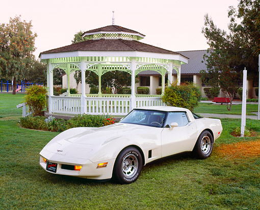 VET 01 RK0486 05 © Kimball Stock 1981 Chevrolet Corvette T-Top Coupe Beige 3/4 Front View On Grass By Gazebo