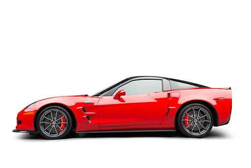 VET 01 BK0004 01 © Kimball Stock 2013 Chevrolet Corvette ZR1 Red Profile View On White Seamless