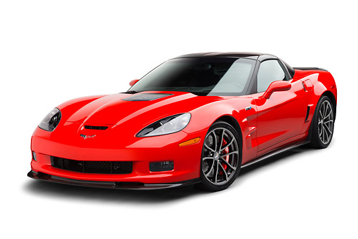 VET 01 BK0005 01 © Kimball Stock 2013 Chevrolet Corvette ZR1 Red 3/4 Front View On White Seamless