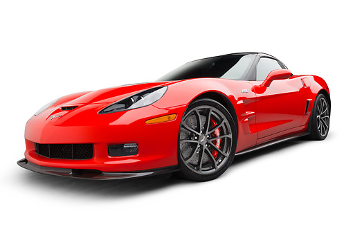 VET 01 BK0008 01 © Kimball Stock 2013 Chevrolet Corvette ZR1 Red 3/4 Front View On White Seamless