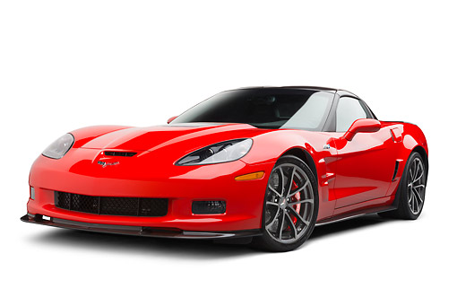 VET 01 BK0010 01 © Kimball Stock 2013 Chevrolet Corvette ZR1 Red 3/4 Front View On White Seamless