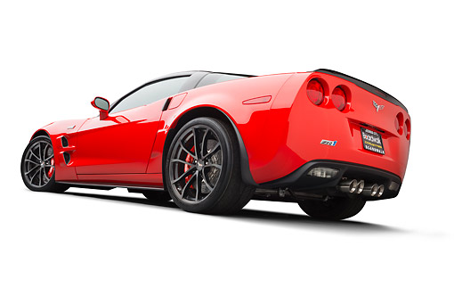 VET 01 BK0013 01 © Kimball Stock 2013 Chevrolet Corvette ZR1 Red 3/4 Rear View On White Seamless