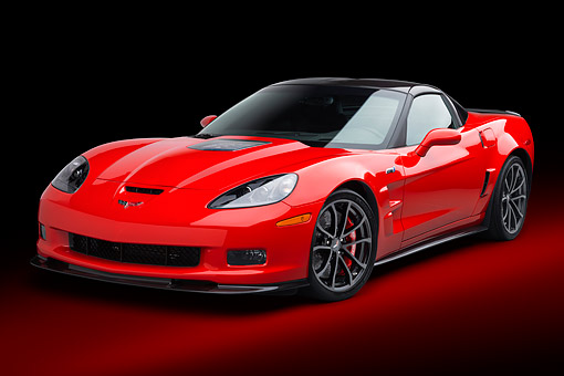 VET 01 BK0017 01 © Kimball Stock 2013 Chevrolet Corvette ZR1 Red 3/4 Front View In Studio