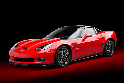 VET 01 BK0018 01 © Kimball Stock 2013 Chevrolet Corvette ZR1 Red 3/4 Front View In Studio