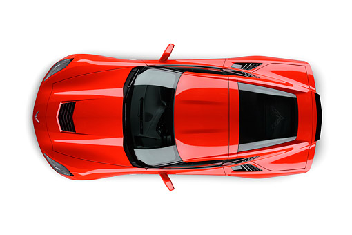 VET 01 BK0021 01 © Kimball Stock 2014 Chevrolet Corvette Stingray Red Overhead View On White Seamless