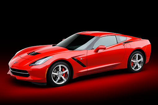 VET 01 BK0041 01 © Kimball Stock 2014 Chevrolet Corvette Stingray Red 3/4 Front View In Studio