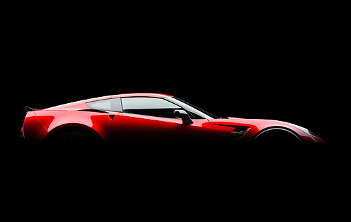 VET 01 BK0051 01 © Kimball Stock 2015 Chevrolet Corvette Z06 Supercar Red Profile Shadow View In Studio