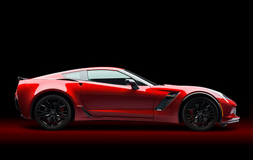 VET 01 BK0052 01 © Kimball Stock 2015 Chevrolet Corvette Z06 Supercar Red Profile View In Studio