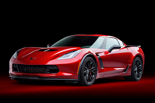 VET 01 BK0058 01 © Kimball Stock 2015 Chevrolet Corvette Z06 Supercar Low 3/4 Front View In Studio