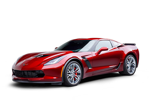 VET 01 BK0071 01 © Kimball Stock 2016 Chevrolet Corvette Z06 Supercar Supercharged 6.2L V8 Red 3/4 Front View In Studio