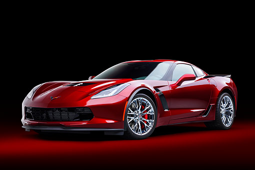 VET 01 BK0072 01 © Kimball Stock 2016 Chevrolet Corvette Z06 Supercar Supercharged 6.2L V8 Red 3/4 Front View In Studio