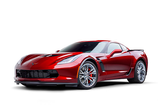 VET 01 BK0073 01 © Kimball Stock 2016 Chevrolet Corvette Z06 Supercar Supercharged 6.2L V8 Red 3/4 Front View In Studio