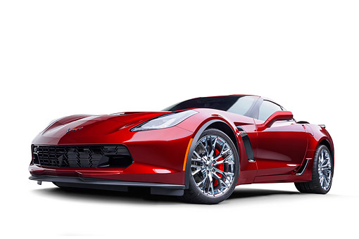 VET 01 BK0074 01 © Kimball Stock 2016 Chevrolet Corvette Z06 Supercar Supercharged 6.2L V8 Red 3/4 Front View In Studio