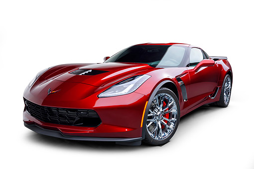 VET 01 BK0075 01 © Kimball Stock 2016 Chevrolet Corvette Z06 Supercar Supercharged 6.2L V8 Red 3/4 Front View In Studio