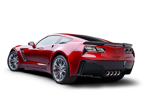 VET 01 BK0076 01 © Kimball Stock 2016 Chevrolet Corvette Z06 Supercar Supercharged 6.2L V8 Red 3/4 Rear View In Studio