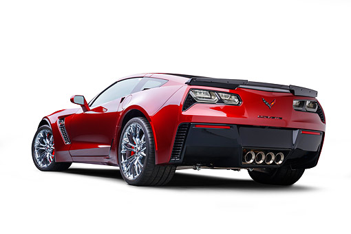VET 01 BK0078 01 © Kimball Stock 2016 Chevrolet Corvette Z06 Supercar Supercharged 6.2L V8 Red 3/4 Rear View In Studio