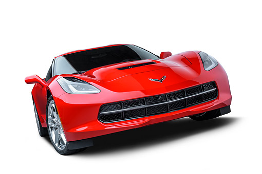 VET 01 BK0080 01 © Kimball Stock 2016 Chevrolet Corvette Stingray Z-51 Red 3/4 Front View In Studio