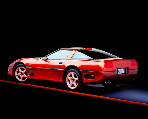 VET 01 RK0087 03 © Kimball Stock 1994 Chevrolet Corvette Callaway ZR1 Red 3/4 Rear View Studio