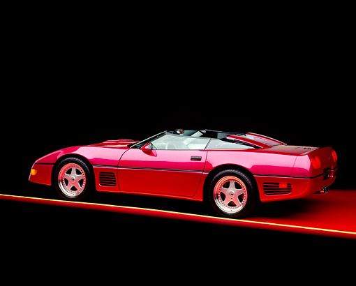 VET 01 RK0146 05 © Kimball Stock 1991 Chevrolet Corvette Callaway Twin Turbo Speedster Fuchsia 3/4 Rear View Studio