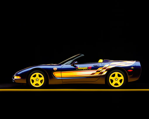VET 01 RK0290 05 © Kimball Stock 1998 Chevrolet Corvette Convertible Pace Car Blue Profile View On Yellow Line Studio