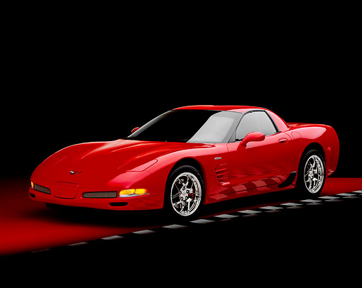 VET 01 RK0627 06 © Kimball Stock 2004 Chevrolet Corvette Z06 Red 3/4 Front View On Red Floor Checkered Line Studio