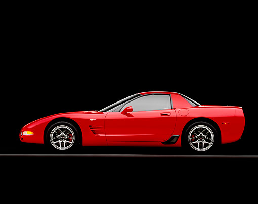 VET 01 RK0629 10 © Kimball Stock 2004 Chevrolet Corvette Z06 Red Side View On Gray Line Studio