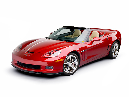 VET 01 RK0975 01 © Kimball Stock 2011 Chevrolet Corvette GS Convertible Red 3/4 Front View On White Seamless