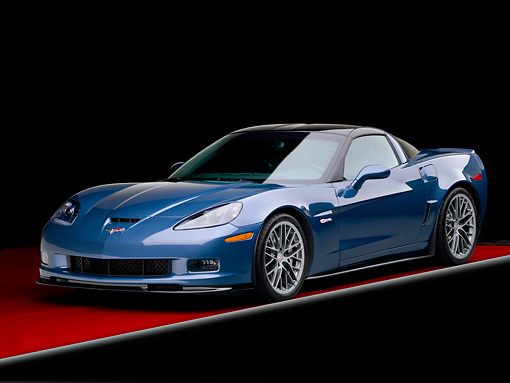 VET 01 RK0993 01 © Kimball Stock 2011 Chevrolet Corvette Z06 Blue 3/4 Front View In Studio