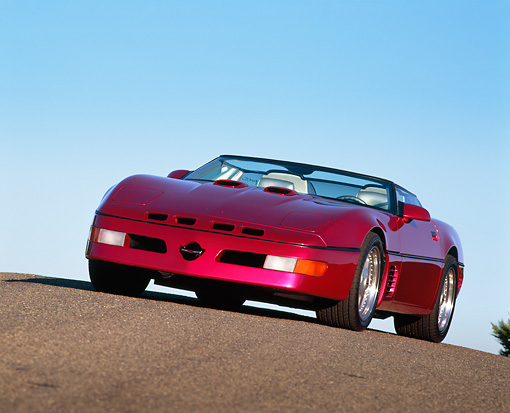 VET 01 RK0142 02 © Kimball Stock 1991 Chevrolet Corvette Callaway Twin Turbo Speedster Convertible Fuchsia On Pavement