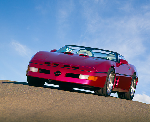 VET 01 RK0142 04 © Kimball Stock 1991 Chevrolet Corvette Callaway Twin Turbo Speedster Convertible Fuchsia On Pavement