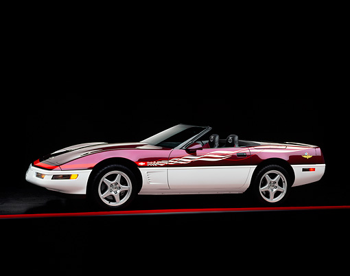 VET 01 RK0149 02 © Kimball Stock 1995 Chevrolet Corvette Convertible Indy Pace Car 3/4 Front View Studio