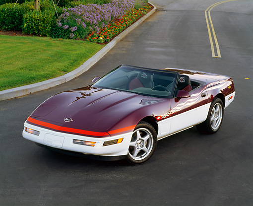 VET 01 RK0153 08 © Kimball Stock 1995 Chevrolet Corvette Indy Pace Car Convertible Overhead 3/4 Front On Road