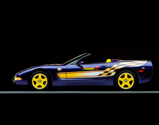 VET 01 RK0289 01 © Kimball Stock 1998 Chevrolet Corvette Convertible Pace Car Side View Studio