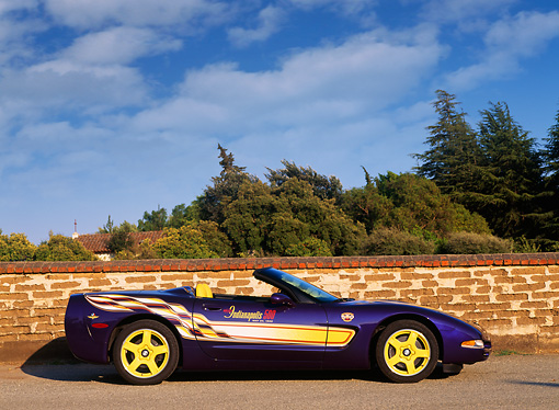 VET 01 RK0299 04 © Kimball Stock 1998 Chevrolet Corvette Convertible Pace Car Profile View On Pavement