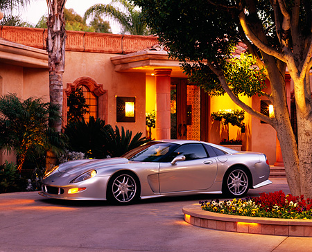 VET 01 RK0399 02 © Kimball Stock 1998 Chevrolet Corvette Callaway C12 Silver 3/4 Side View By House