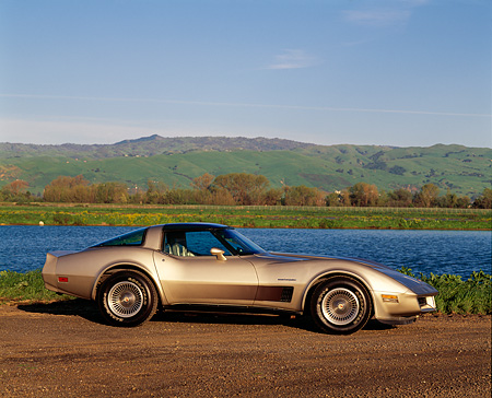 VET 01 RK0450 05 © Kimball Stock 1982 Chevrolet Corvette Collector Edition Silver Beige 3/4 Front View By Water
