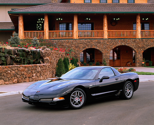 VET 01 RK0504 02 © Kimball Stock 2001 Chevy Corvette Z06 Black 3/4 Front View On Pavement