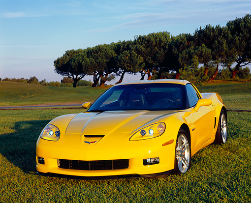 VET 01 RK0724 01 © Kimball Stock 2006 Chevrolet Corvette Z06 Yellow 3/4 Front View On Grass