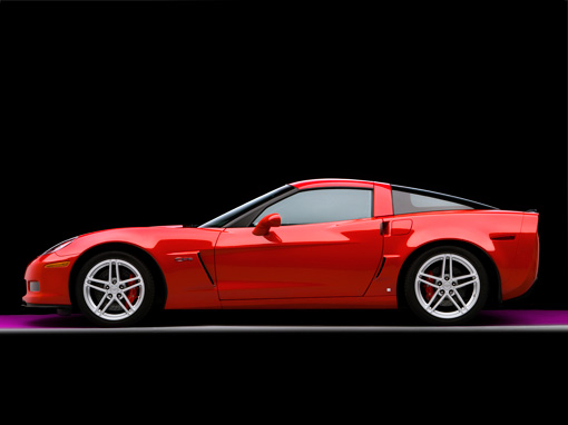 VET 01 RK0756 01 © Kimball Stock 2007 Chevrolet Corvette Z06 Red Profile View Studio