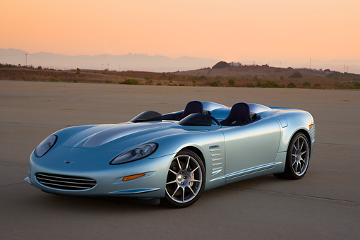 VET 01 RK0800 01 © Kimball Stock 2007 Chevrolet Corvette Callaway C16 Speedster Light Blue 3/4 Front View On Pavement