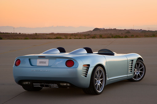VET 01 RK0801 01 © Kimball Stock 2007 Chevrolet Corvette Callaway C16 Speedster Light Blue 3/4 Rear View On Pavement