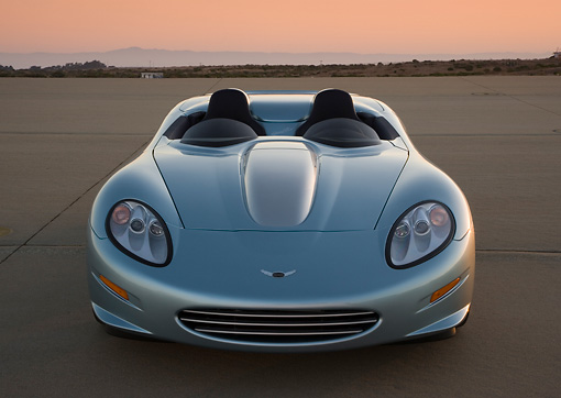 VET 01 RK0808 01 © Kimball Stock 2007 Chevrolet Corvette Callaway C16 Speedster Light Blue Head On View On Pavement