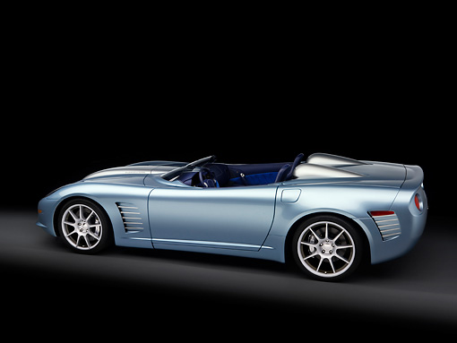 VET 01 RK0811 01 © Kimball Stock 2007 Chevrolet Corvette Callaway C16 Speedster Light Blue 3/4 Rear View Studio